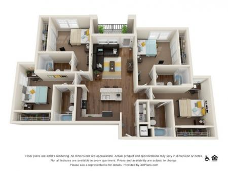 D2 4x4   4 bedrooms 4 bathrooms   from 1552 square feet