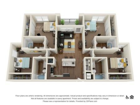 D1 4x4 | 4 bedrooms 4 bathrooms | 1444 square feet