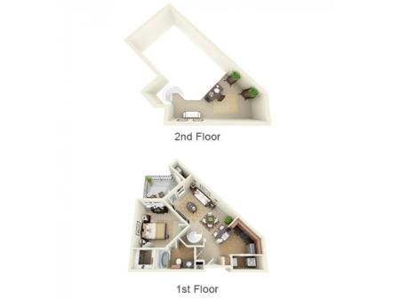 1X1L   1 bed 1 bath   from 803 square feet