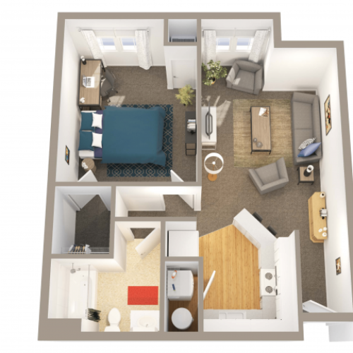 1 Bedroom 1 Bathroom | 1 bed 1 bath | from 686 square feet