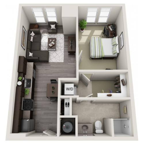A1 | 1 bed 1 bath | from 637 square feet