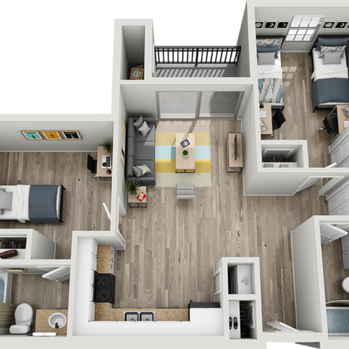 B1D | 2 bed 2 bath | from 940 square feet