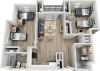 B1H | 2 bed 2 bath | from 1090 square feet