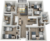D1A | 4 bed 2 bath | from 1268 square feet
