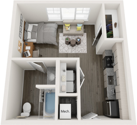 S1   1 bed 1 bath   from 434 square feet