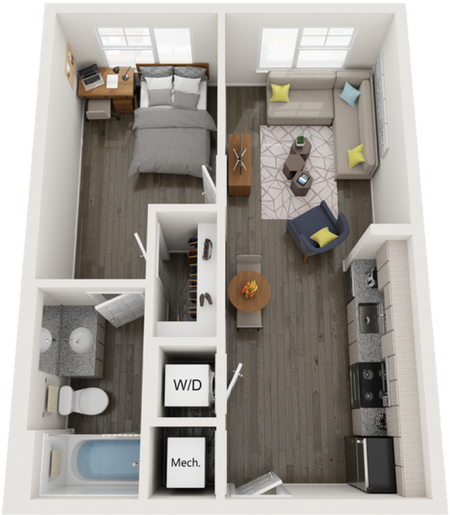 A1   1 bed 1 bath   from 540 square feet