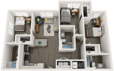 C1   3 bed 3 bath   from 1106 square feet