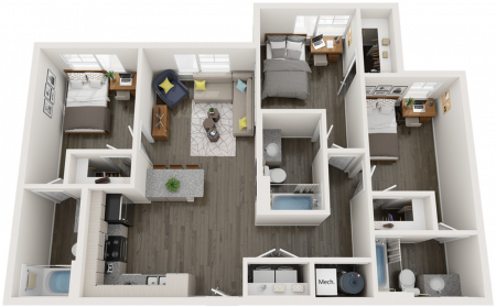 C1.1   3 bed 3 bath   from 1121 square feet