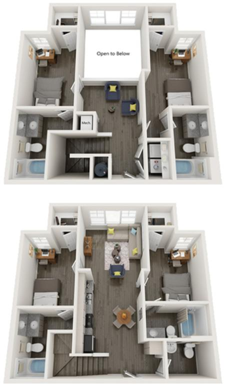 TH-D4   4 bed 5 bath   from 1621 square feet