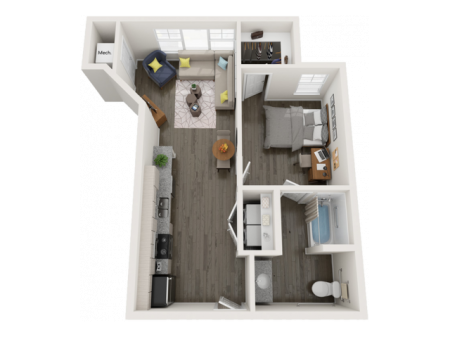 A2   1 bed 1 bath   from 637 square feet