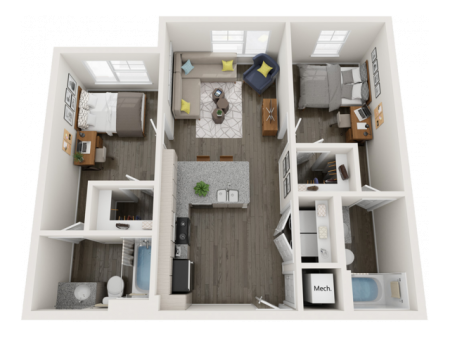 B2   2 bed 2 bath   from 809 square feet