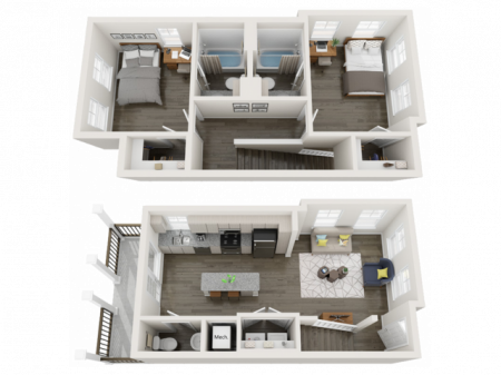 TH-B5.1   2 bed 3 bath   from 1014 square feet