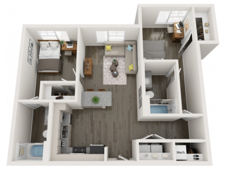 B6   2 bed 2 bath   from 897 square feet