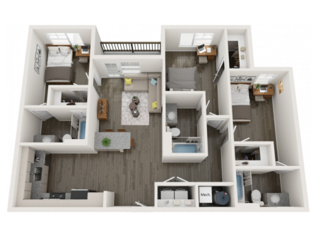 C4   3 bed 3 bath   from 1142 square feet