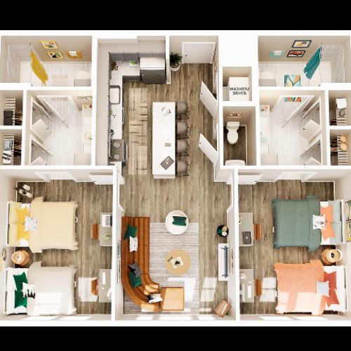 2 Bedroom 2.5 Bathroom B2 Double Occupancy