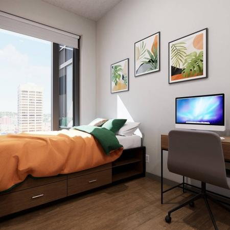 private bedroom with computer desk