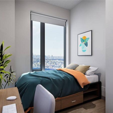 private bedroom with large window