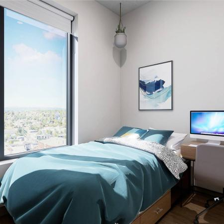 private bedroom with large windows