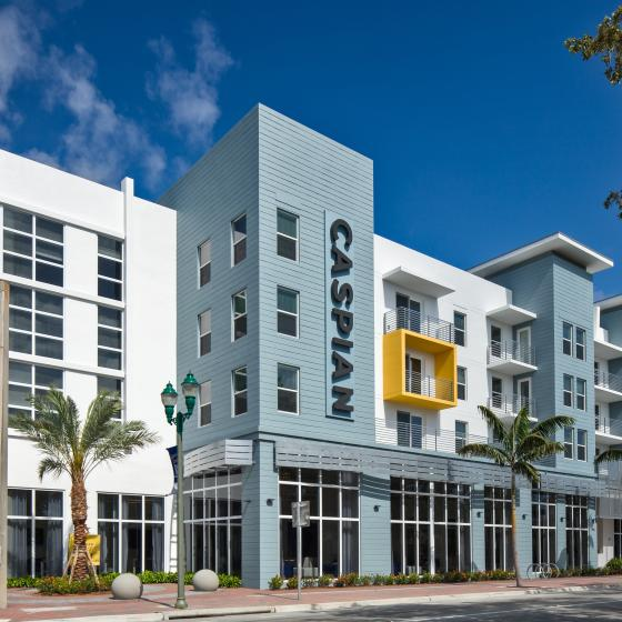 Caspian Delray Beach Exterior View|, urban landscaping, street view and mixed use