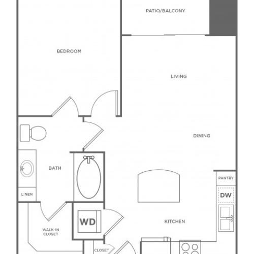 1 Bedroom Floor Plan | Energy Corridor Luxury Apartments | Eclipse