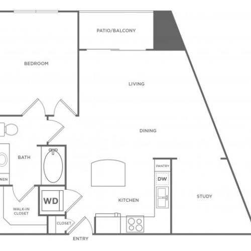 1 Bdrm Floor Plan | Apartments In Energy Corridor Houston Texas | Eclipse
