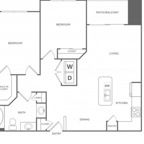 2 Bedroom Floor Plan | Energy Corridor Houston Apartments | Eclipse