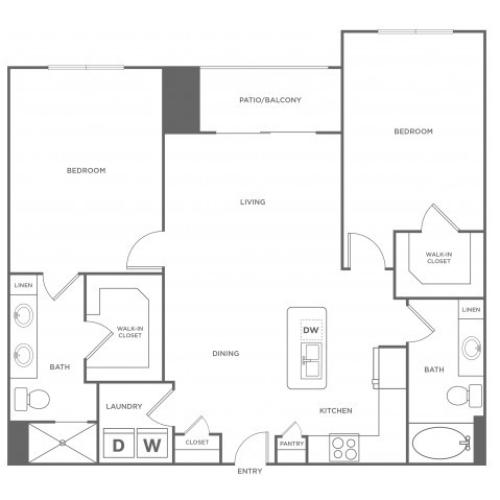 2 Bdrm Floor Plan | Energy Corridor Apartments For Rent | Eclipse