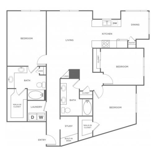 3 Bedroom Floor Plan | Energy Corridor Apartments Houston | Eclipse