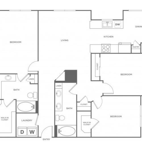 3 Bdrm Floor Plan | Energy Corridor Luxury Apartments | Eclipse