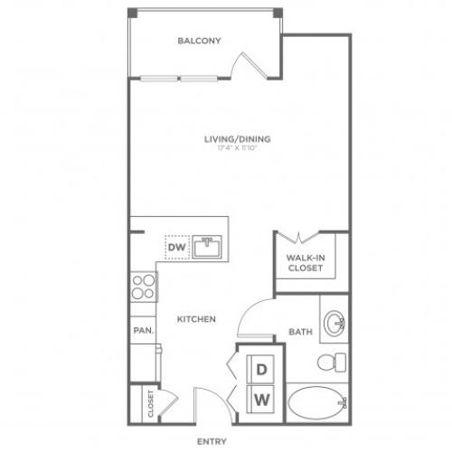 Floor Plan 1 | Apartments In Oak Lawn Dallas | 4110 Fairmount
