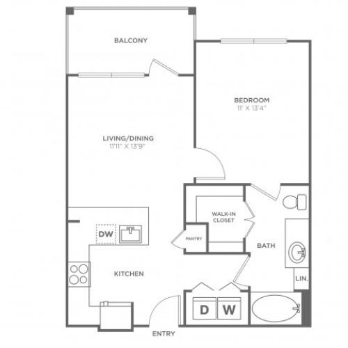 Floor Plan 2 | Apartments For Rent In Oak Lawn Dallas | 4110 Fairmount