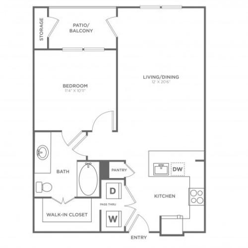 Floor Plan 3 | Oak Lawn Dallas Apartments | 4110 Fairmount