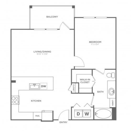 Floor Plan 4 | Oak Lawn Apartments For Rent In Dallas | 4110 Fairmount
