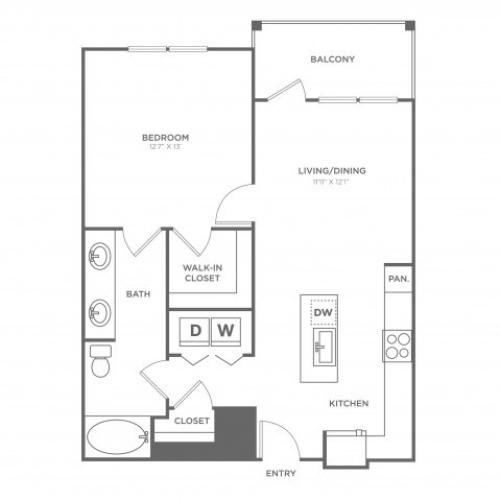 Floor Plan 5 | Apartments In Dallas Uptown Area | 4110 Fairmount