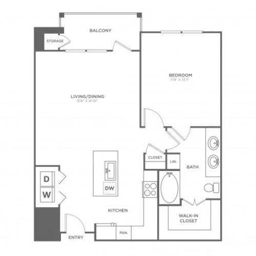 Floor Plan 8 | Oak Lawn Dallas Apartments | 4110 Fairmount