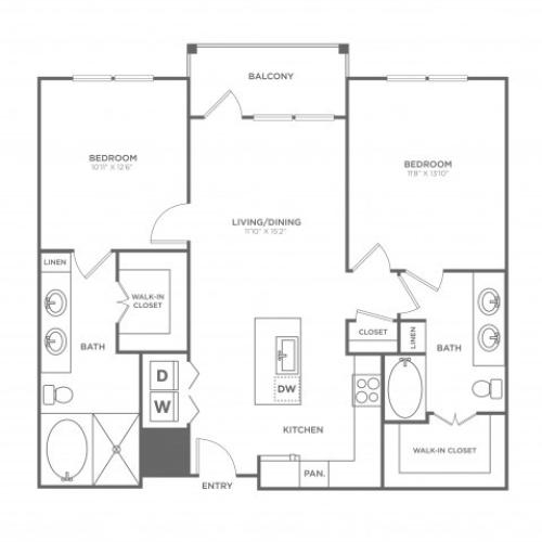 Floor Plan 10 | Apartments In Dallas Uptown Area | 4110 Fairmount