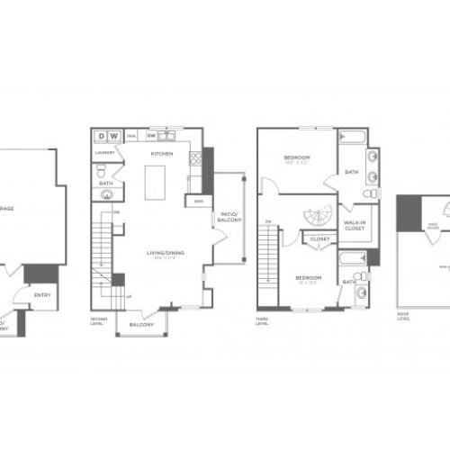Floor Plan 12 | Apartments For Rent In Oak Lawn Dallas | 4110 Fairmount