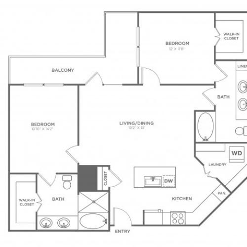 Floor Plan 13 | Oak Lawn Dallas Apartments | 4110 Fairmount