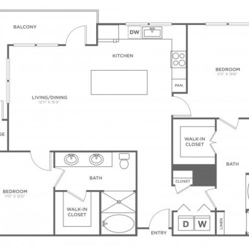 Floor Plan 14 | Oak Lawn Apartments For Rent In Dallas | 4110 Fairmount