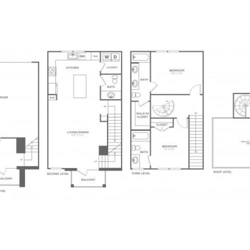 Floor Plan 15 | Apartments In Dallas Uptown Area | 4110 Fairmount