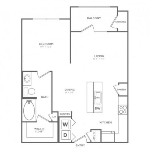 Studio Floor Plan | Dallas Knox Henderson Apartments | Fitzhugh Urban Flats