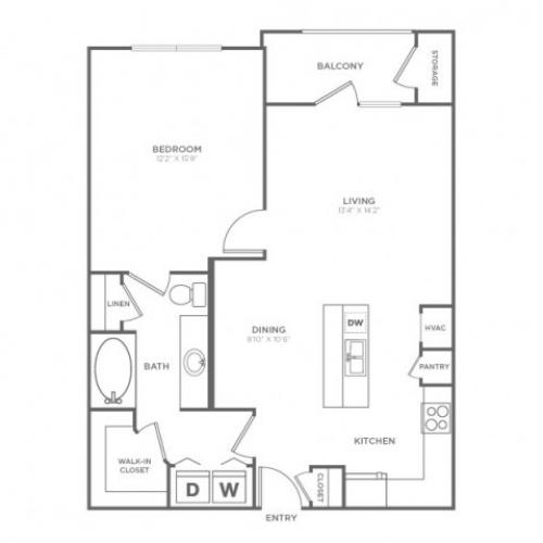 1 Bedroom Floor Plan | Knox Henderson Apartments | Fitzhugh Urban Flats