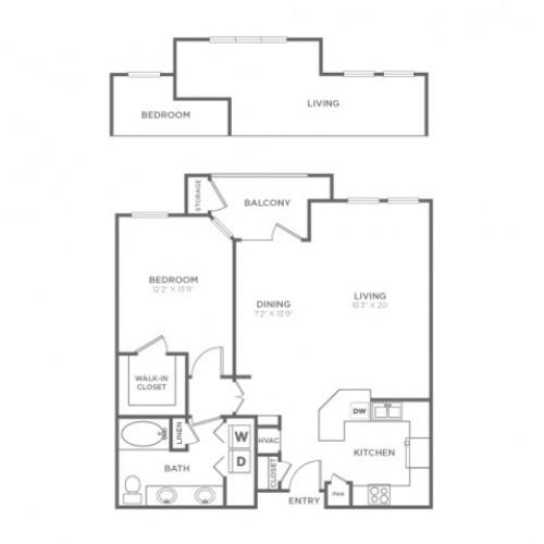 Floor Plan 2 | Dallas Apartments In Knox Henderson | Fitzhugh Urban Flats