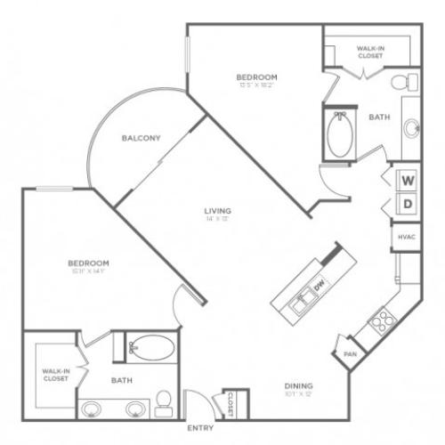 Floor Plan 4 | Apartments In Knox Henderson | Fitzhugh Urban Flats
