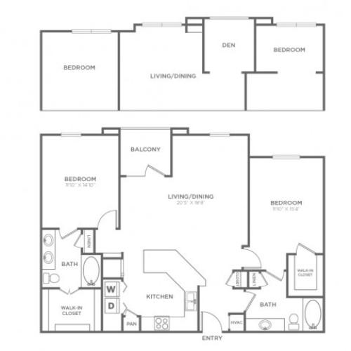 Floor Plan 5 | Knox Henderson Dallas Apartments | Fitzhugh Urban Flats