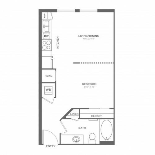 Studio Floor Plan | Miami Apartments In Brickell | SOMA at Brickell