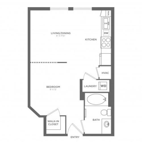 Escher | Studio1 bath | from 522 square feet