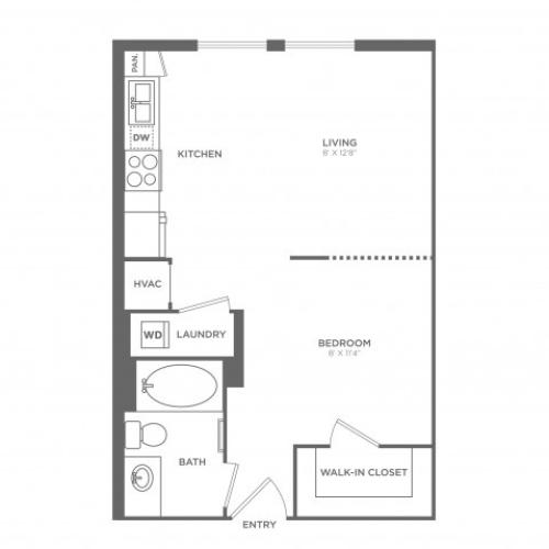 Studio Floor Plan 2 | Miami Apartments In Brickell | SOMA at Brickell