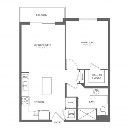 1 Bedroom Floor Plan | Luxury Apartments In Brickell Miami | SOMA at Brickell