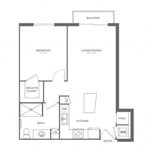 1 Bdrm Floor Plan | Brickell Miami Apartments | SOMA at Brickell